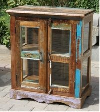 Recycle Wood Glass Cabinet