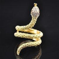 Stylish Gold Crystal Snake Design Ring