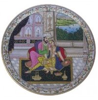 Marble Round Plate Mughal Raja And Rani Painting