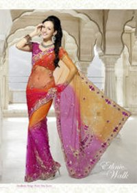 Extra Ordinary Velvet And Net Saree
