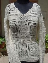 Ladies Crochet Pullover