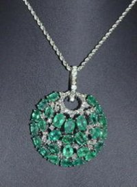 Color Stone Diamond Pendant Set