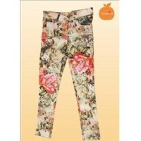 Flower Printed Jeans Pant