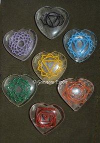Engraved Chakra Oval Set On Crystal Quartz