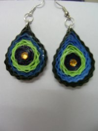 Paper Quilled Peacock Earring
