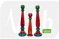 Colored Wooden Candle Stands