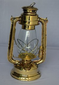 Full Brass Oil Lantern With Clear Glass Chimney