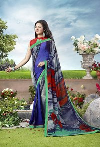 Blue And Multi Color Printed Saree
