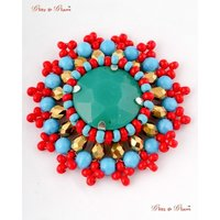Fashion Brooches With Multicoloured Stoned