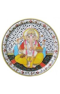 Ganesh Painting On Marble Plate