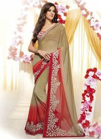 Brown Georgette Saree With Embroidered Patch Lace Zari Work