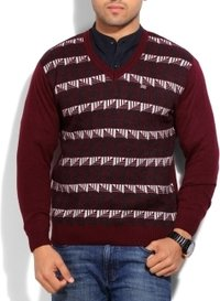 Duke Printed Casual Men'S Sweater (Maroon)