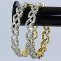 Gold Plated Bangles Embedded With American Diamonds