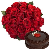 Flowers Bouquet With Chocolate Cake