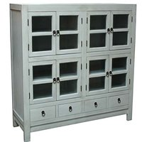 Wooden Four Drawers Four Doors Glass Cabinet