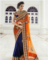 Charming Net Patch Border Work Designer Saree