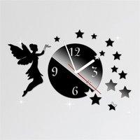 Angel Stars Art Black Acrylic Wall Clock And Sticker