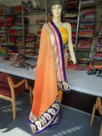 Designer Heavy Velvet Pallu Zari Border Party Wear Saree