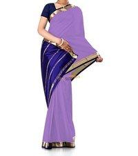 Contrast Light Purple Pure Crepe Silk Saree