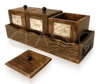 Handcrafted Wooden Containers For Coffee Sugar And Tea