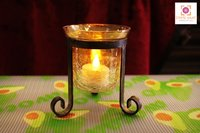 Elegant Tripod Stand With Crackled Glass Tea Light Holder