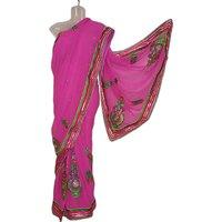Deep Pink Designer Crape Saree With Zari Border