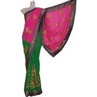 Green & Pink Designer Golden Patch Work Saree