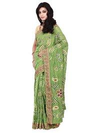 Gadhwal Silk Green Bandhani Saree In Mirror-Work