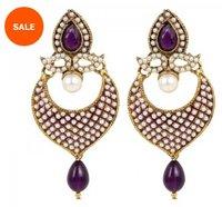 Ethnic White And Purple Polki Pearls Jhumka Earrings