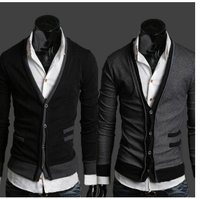 Black Dark Gray V Neck Mens Cardigan Sweater