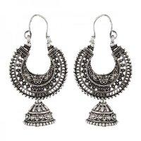 Ethnic Silver Color Metal Hoop With Jhumki Earrings