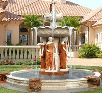 Outdoor Garden Water Music Fountain With Stone Statue