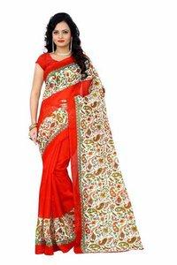 Bhagalpuri Floral Print Red Colour Sarees