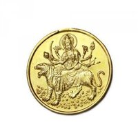 Durga Bisa Yantra Coin In Copper Gold Plated