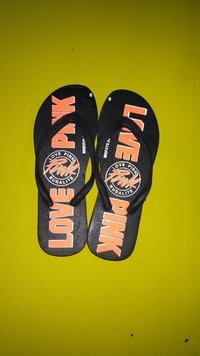Black Printed Chappal For Gents