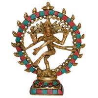 Natraj (Lord Shiva) Statue With Turquoise Coral Stone Work