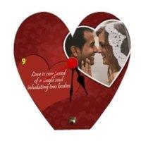 Wooden Photo Clock Heart Shape