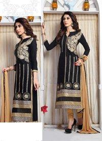 Black Color Unstitched Ladies Suits
