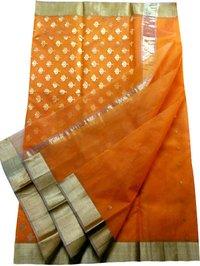 Orange Designer Chanderi Silk Saree