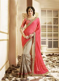 Beige And Pink Embroidery Work Bridal Saree