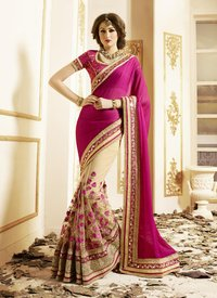 Rani Pink And Cream Embroidery Work Chiffon Net Saree
