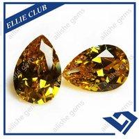 Wuzhou Pear Drop Shape Cut Yellow Color Cubic Zirconia