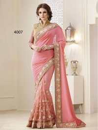 Pink C And N Georgette And Net Sarees