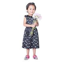 Black Printed Kids Party Dress