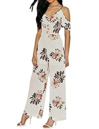 Darlency Women'S Strap Floral Ruffle V Neck Off The Shoulder Daily Chiffon Jumpsuit