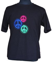 Embroidered Black Hd Peace Yoga T-Shirts