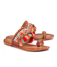 Multi Red Ethnic Flat Sandal