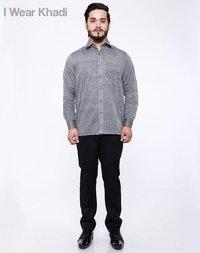 Hand Woven Mens Coal Grey Khadi Shirt