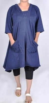 Navy Blue Ladies Symmetrical Dress With Front Pocket