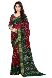 Ladies Plain Border Bandhani Saree